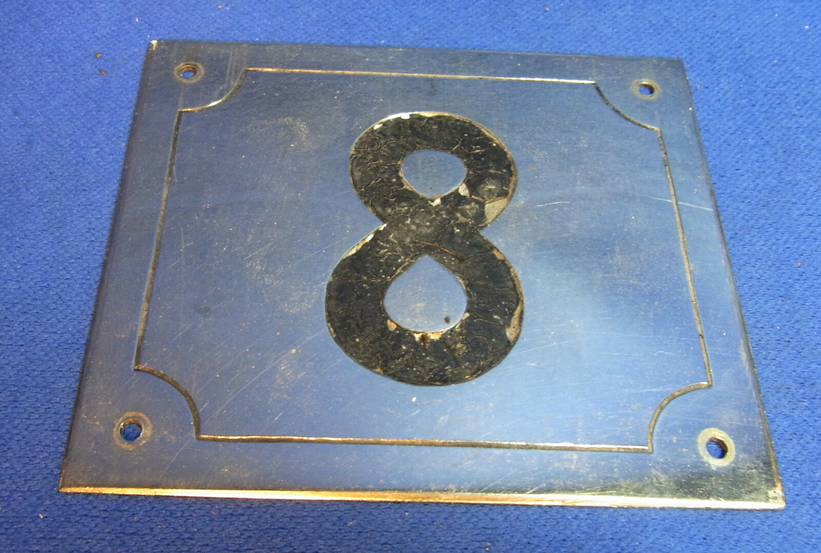 Mid Century Chrome with Black Numbers House Sign No. 8 #L