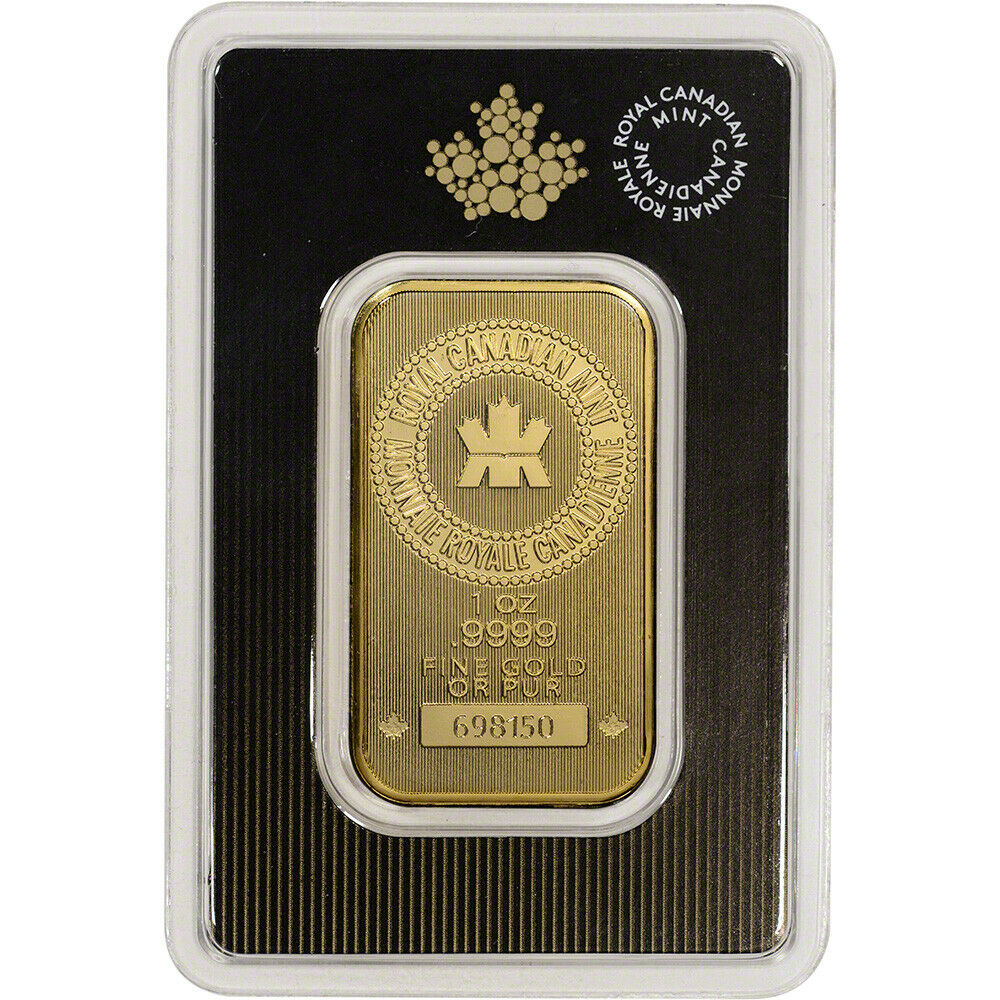 Provident Metals is pleased to carry the RCM 1 oz gold bar stuck in pure gold bullion. Each Royal Canadian Mint 1 oz gold bar is sealed in a secure protective assay card that guarantees the weight and purity of each RCM bar.