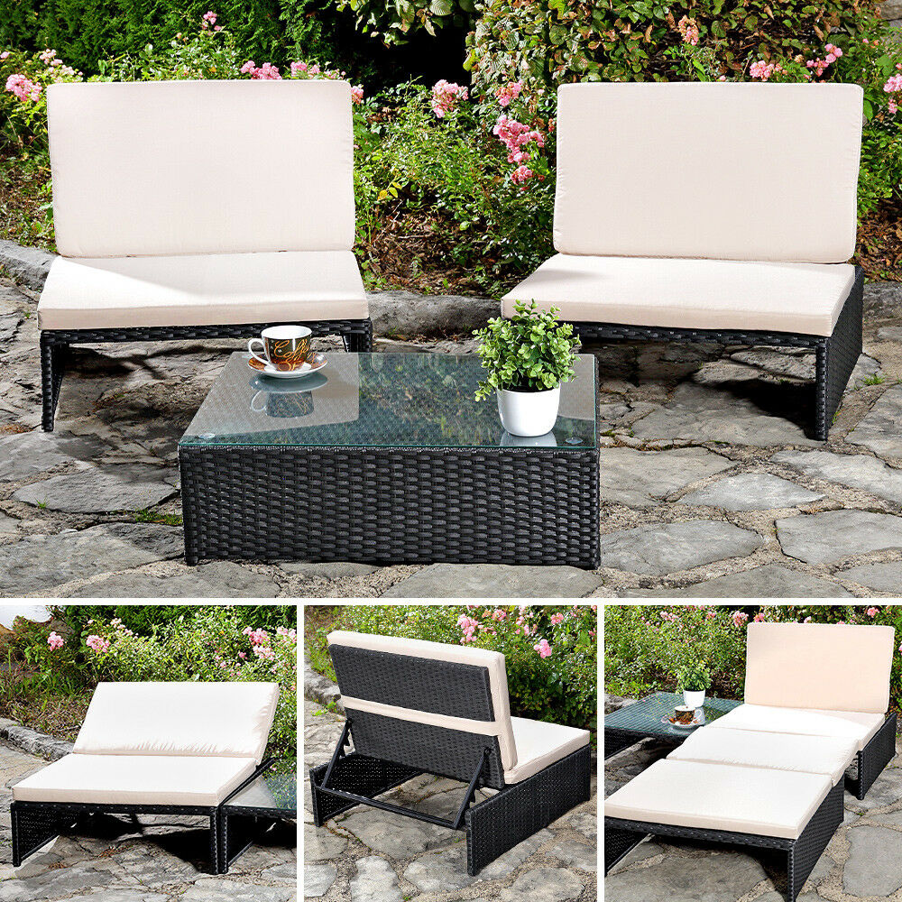 sitzgarnitur mit 2 sessel und tisch gartenset gartenm bel lounge poly rattan eur 164 25. Black Bedroom Furniture Sets. Home Design Ideas