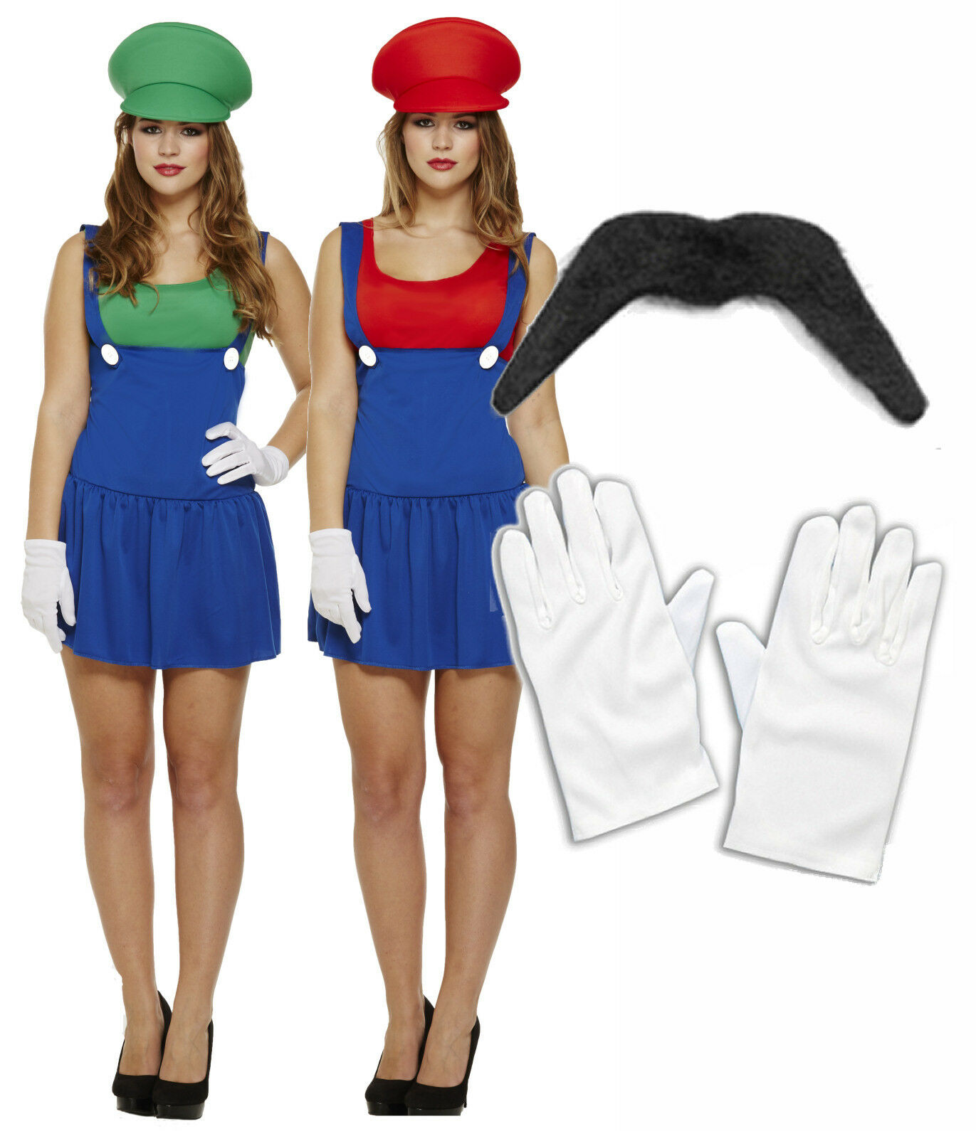 1 of 1FREE Shipping ...  sc 1 st  PicClick UK & LADIES MARIO LUIGI 80s 90s Fancy Dress Costume Outfit Girls Lady ...