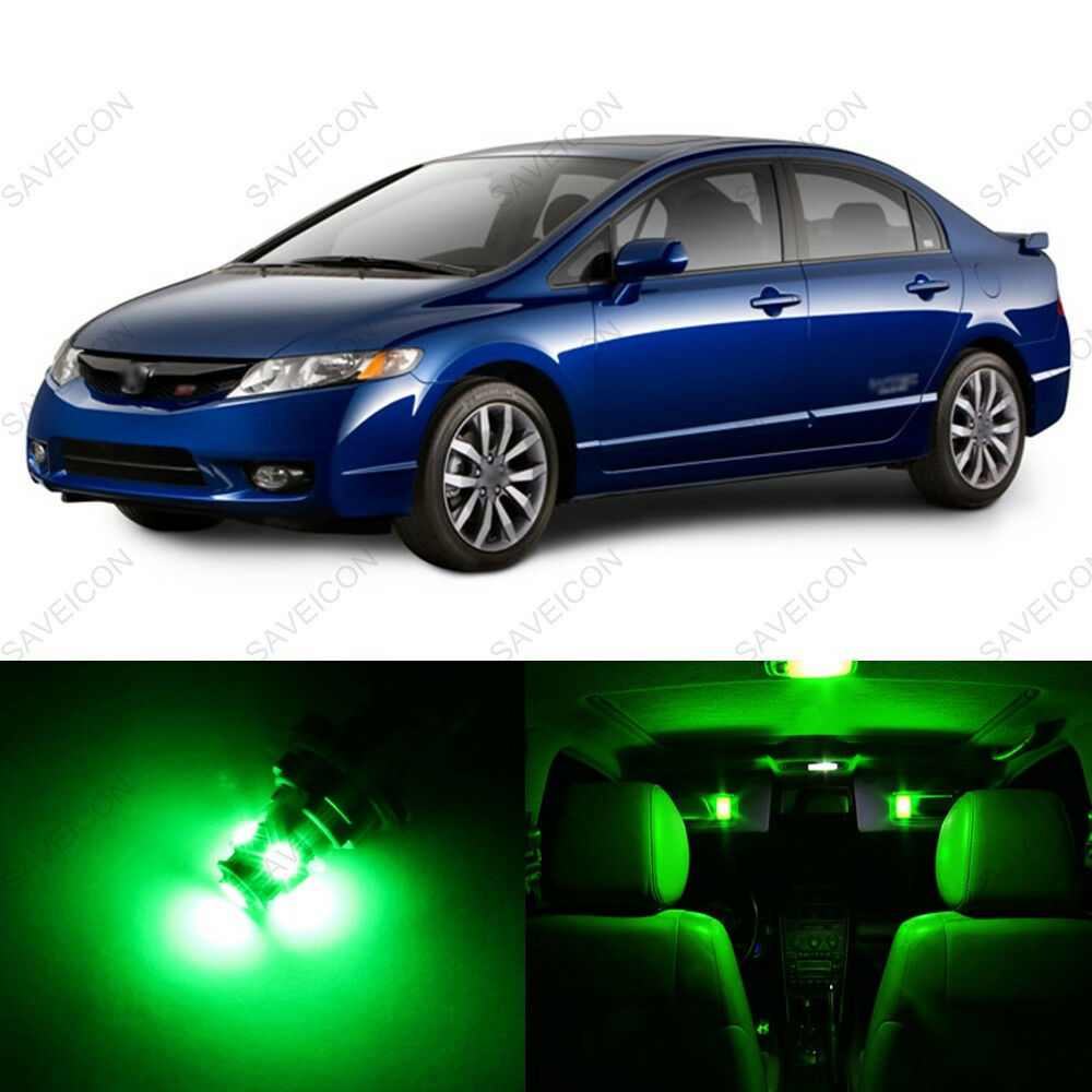 6 X Green Led Lights Interior Package For Honda Civic Coupe Sedan 2006 2012 Picclick