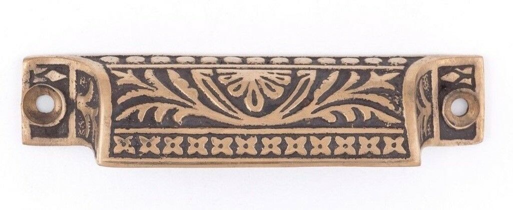 Palmette cast bronze bin pull for kitchens and cabinet drawers