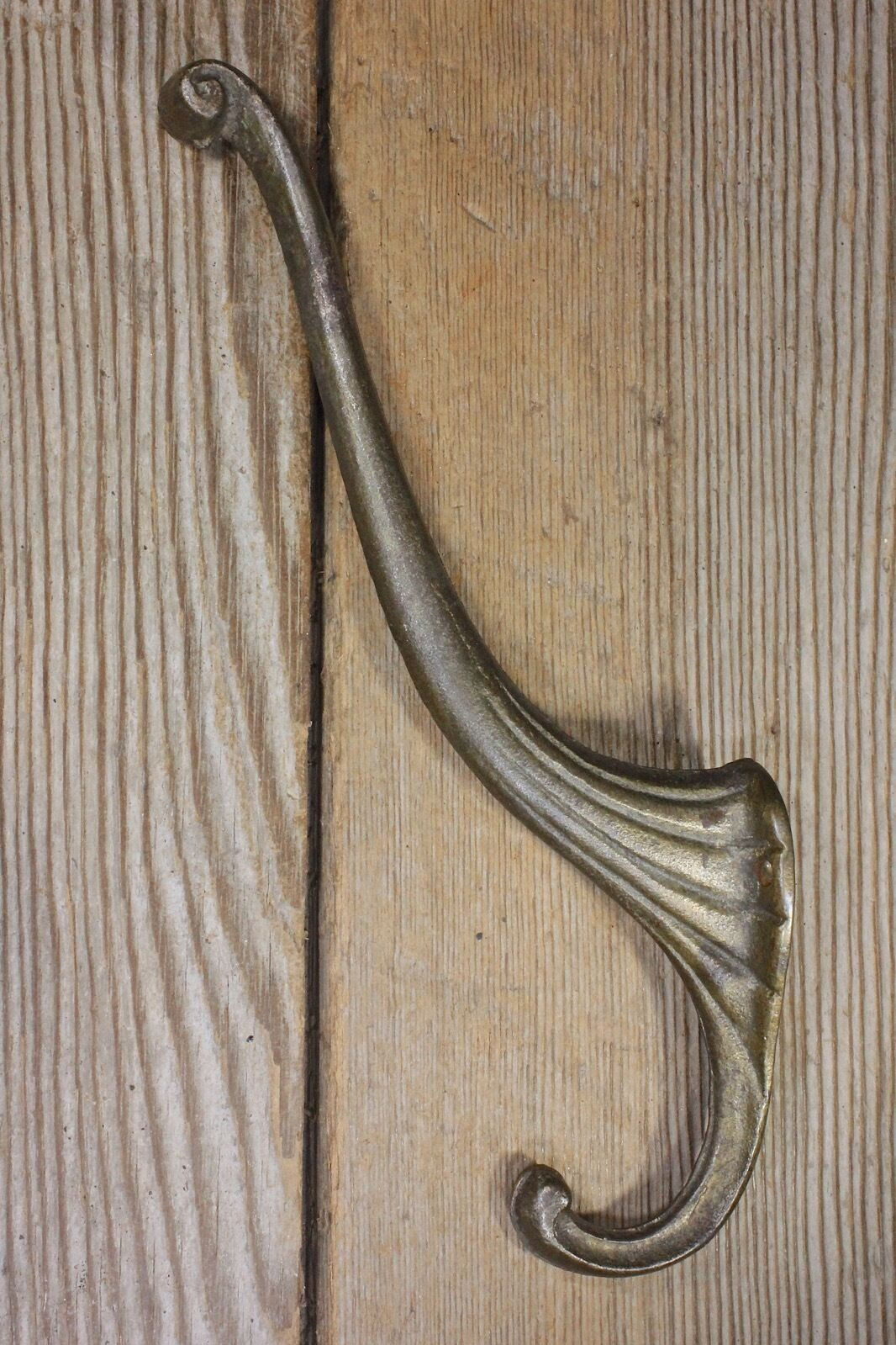 Coat Hook craftsman school house bath robe old rustic vintage brass clothes tree