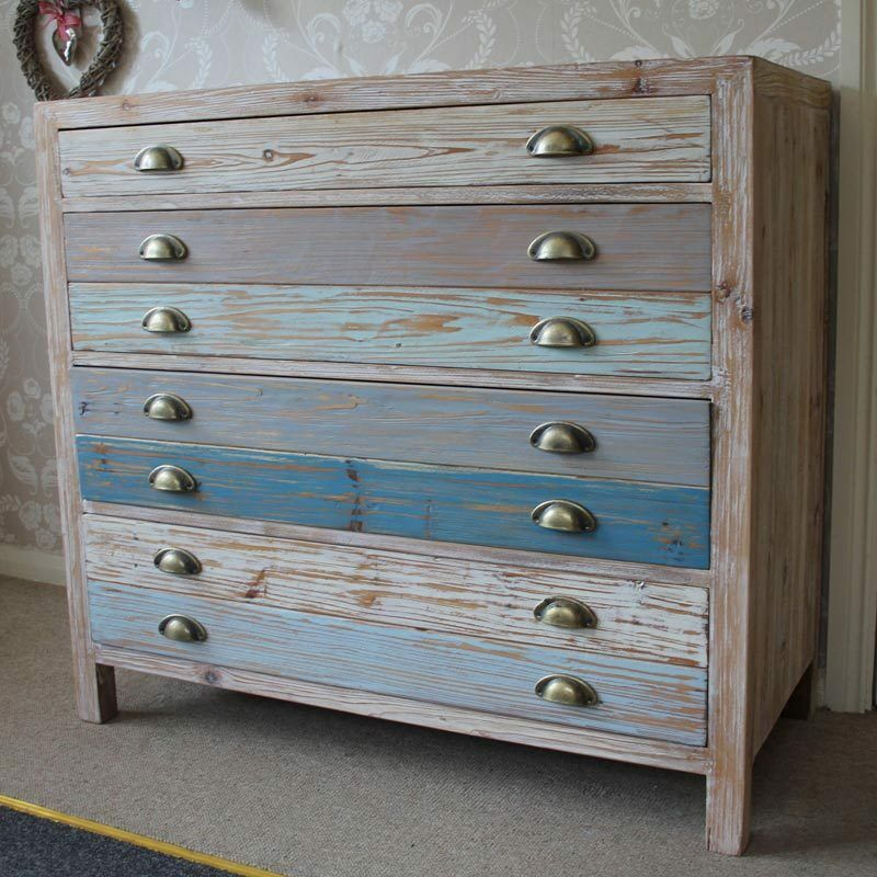 large chest of drawers blue wooden bedroom storage loft industrial
