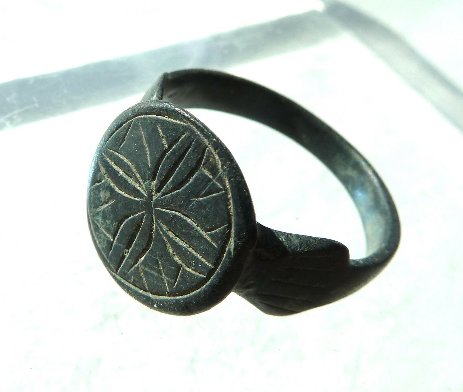 Ancient medieval bronze ring (647)