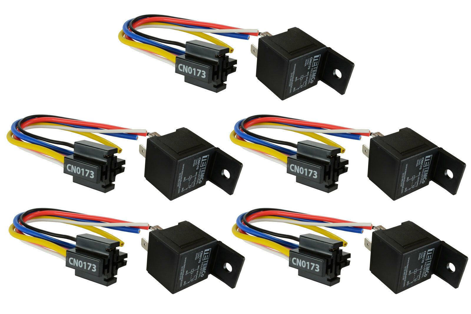 5 Lot Temco 12 V 30 40 Amp Bosch Style S Relay With Harness Socket 451m Wiring Diagram Wire 1 Of 12only 0 Available