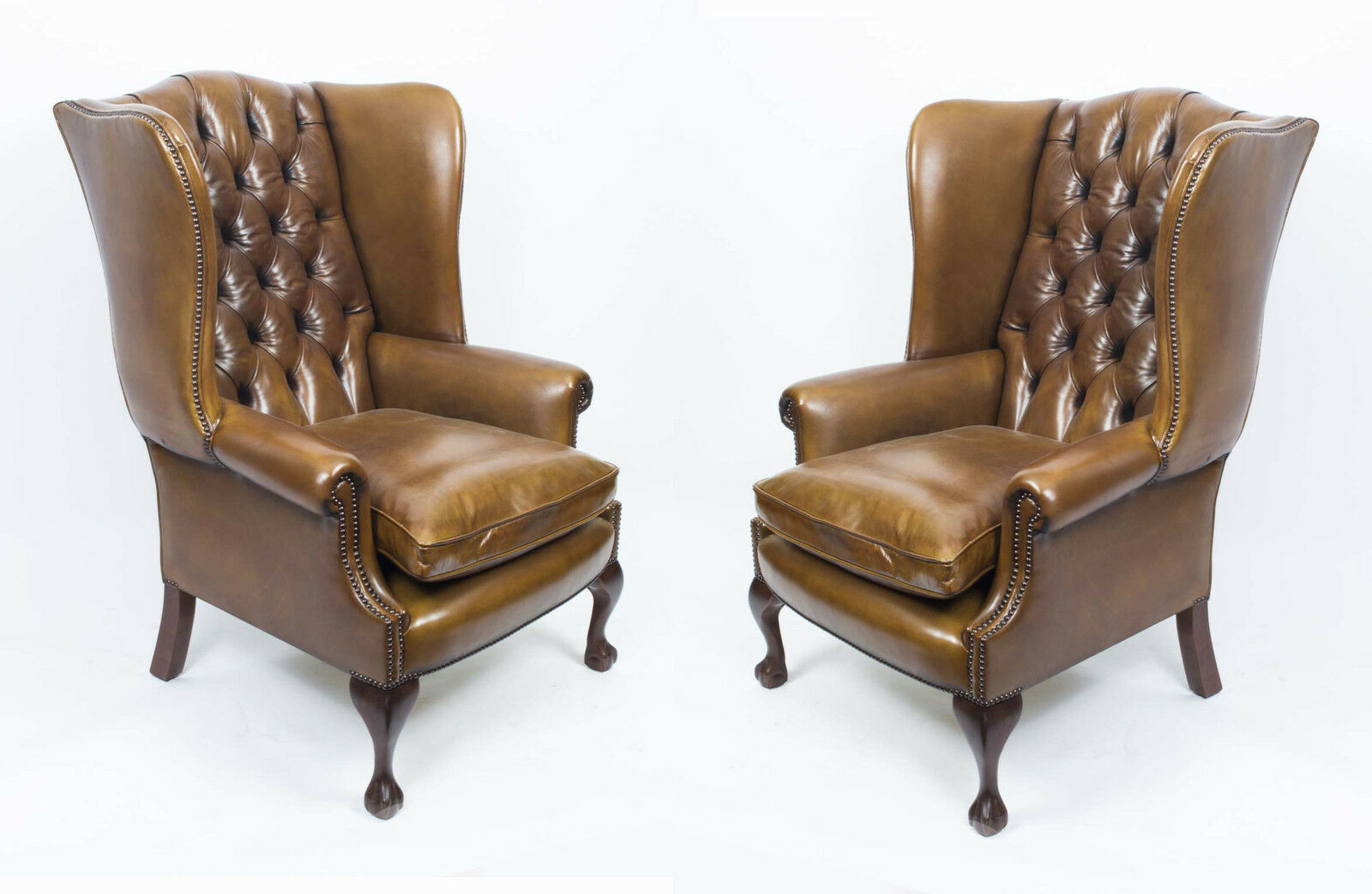 Pair Leather Chippendale Wing Back Armchairs Yellow Tan
