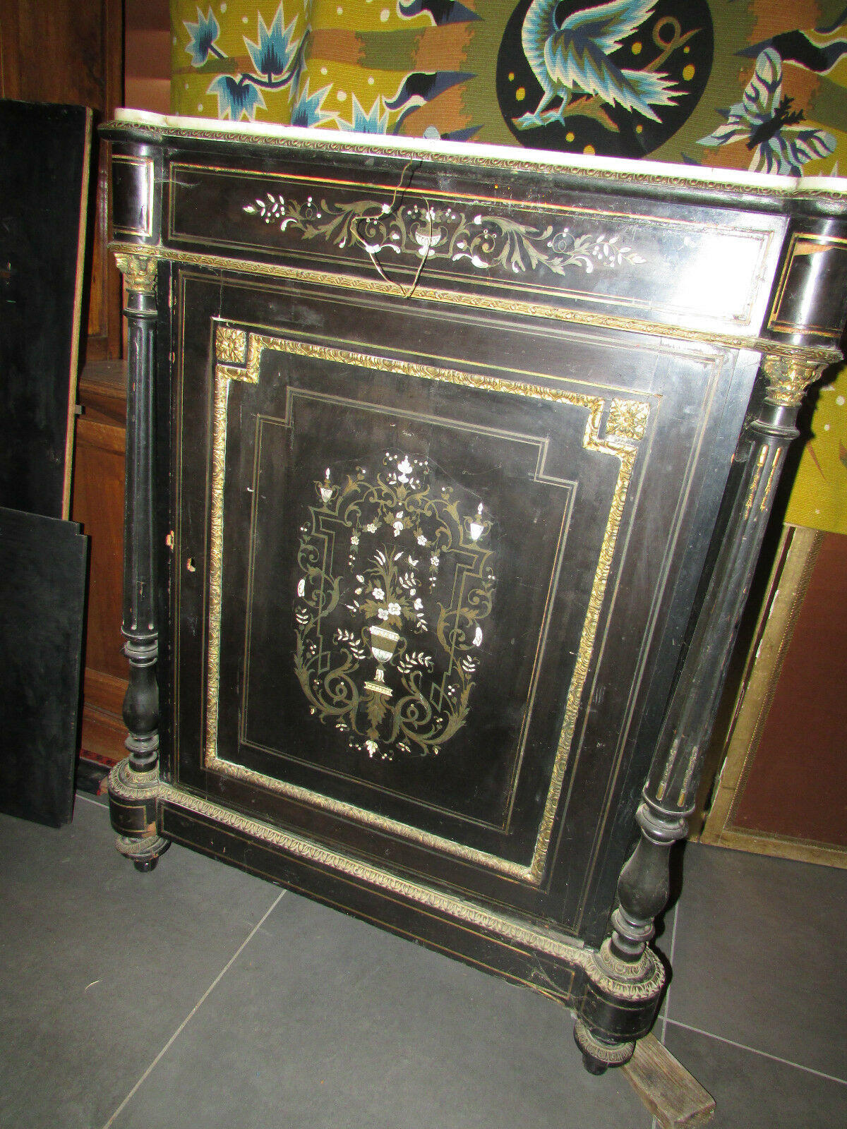ancien meuble d 39 appui napoleon iii noirci marqueterie. Black Bedroom Furniture Sets. Home Design Ideas