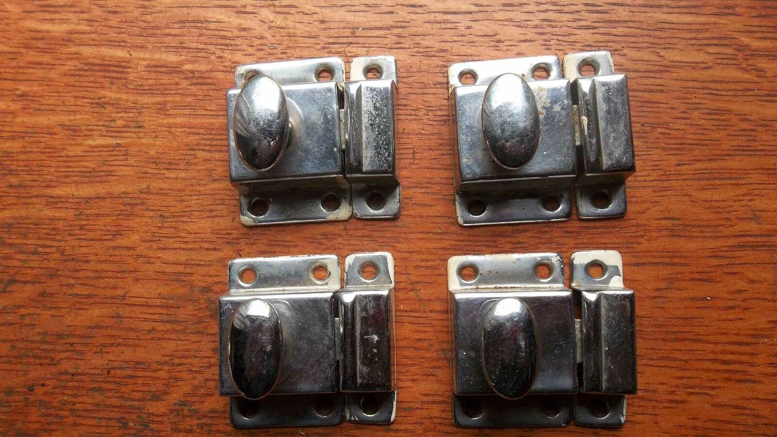 Four Antique Vintage Nickel Plated Victorian Hoosier Cabinet Latches