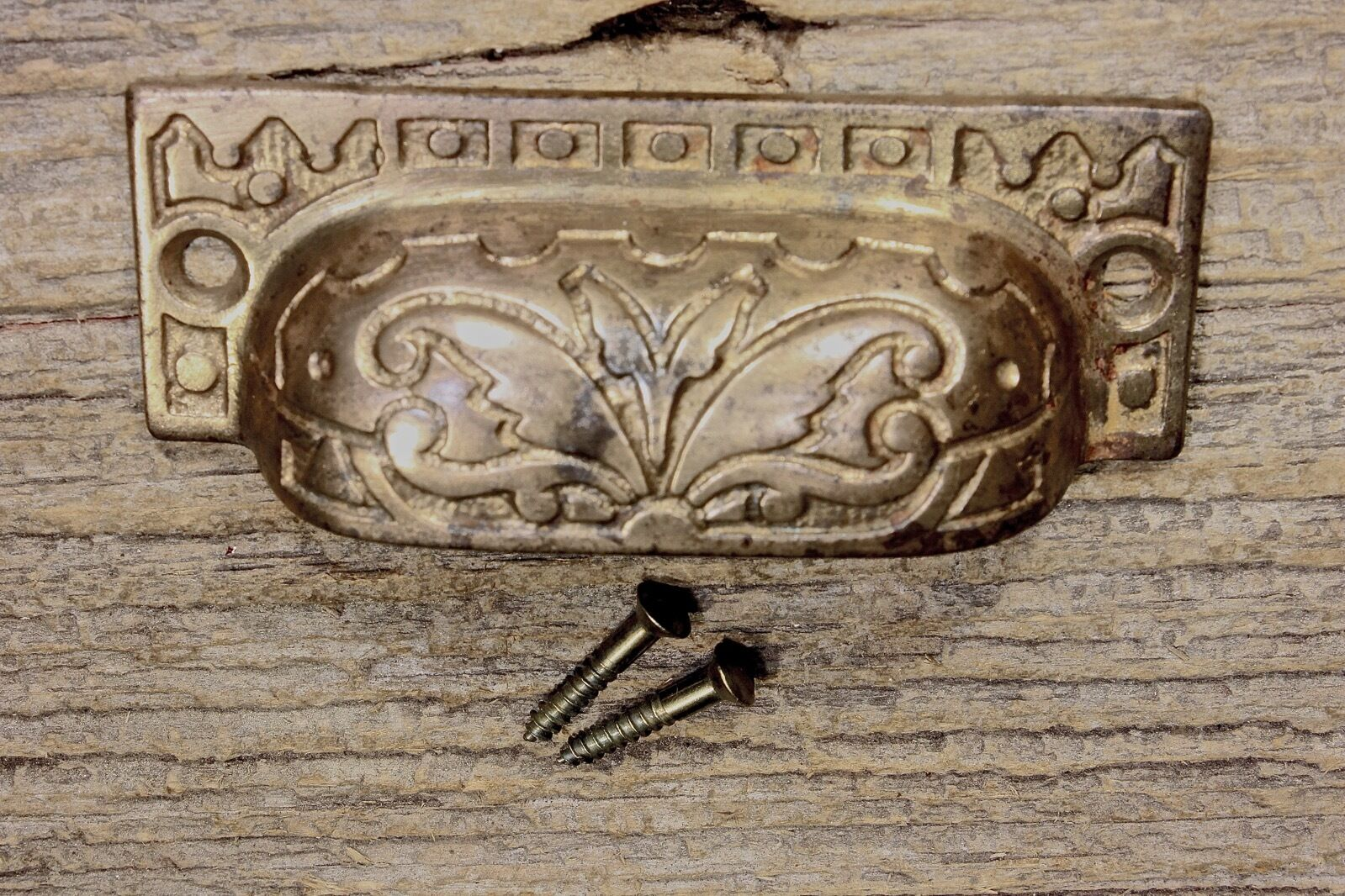 "old Bin Drawer Pull cup handle butterfly ferns 3 1/2"" bronze iron vintage brass"
