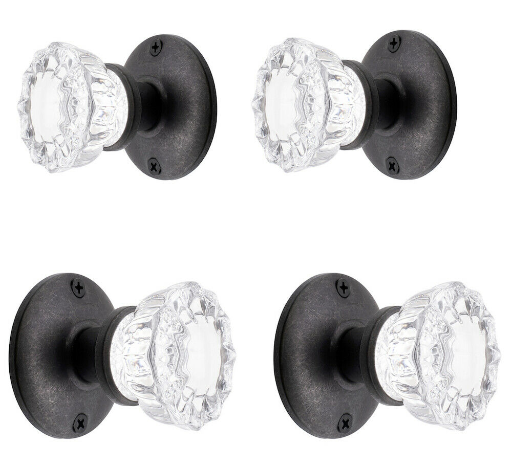 Two Complete ORB FRENCH DOOR Knob Set- KNOBS On Both Sides of Two FRENCH DOORS