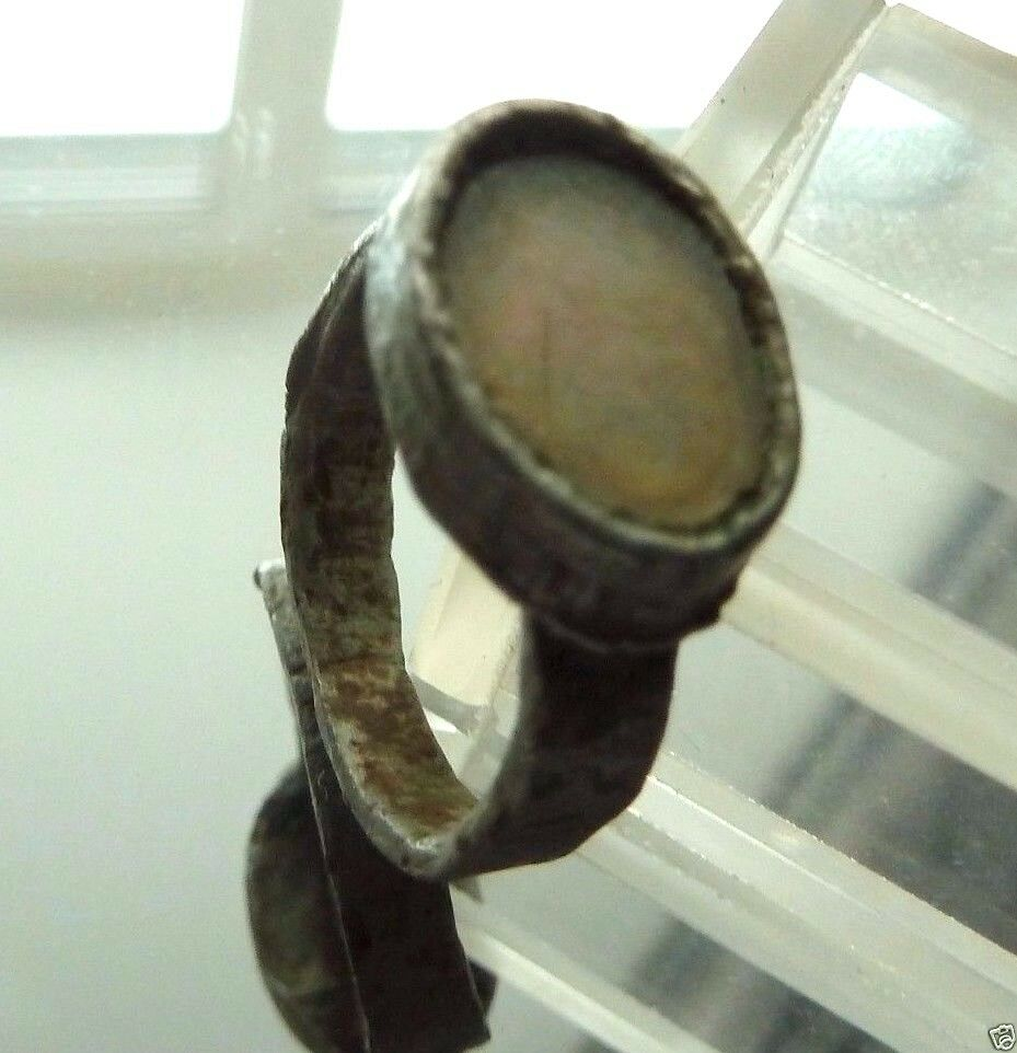 Ancient medieval tin ring with glass insert. (455)