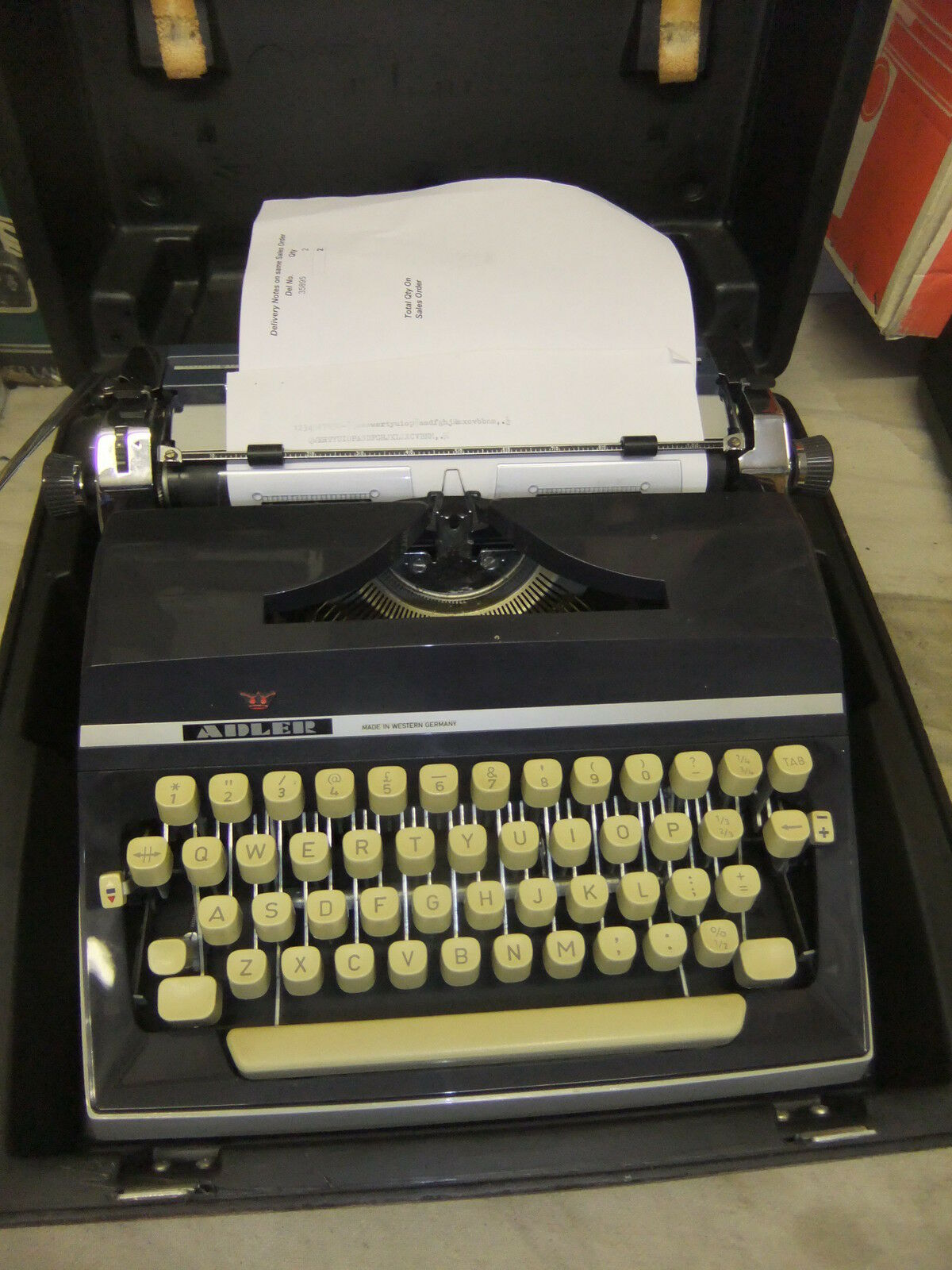 Typewriter ADLER in hard BLACK case portable quality item made in Germany