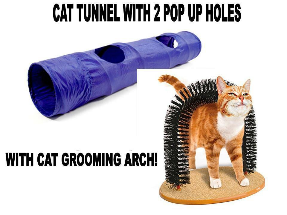 Cat Tunnel With 2 Pop-Out Hole With Cat Grooming Massager Arch Toy Kitten New