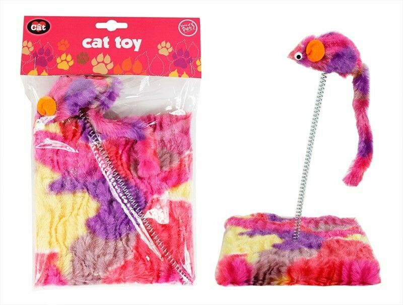 Cat Toy Spring With Mouse Kitten Cat Products Toys Playtime Fun Pet Colourful