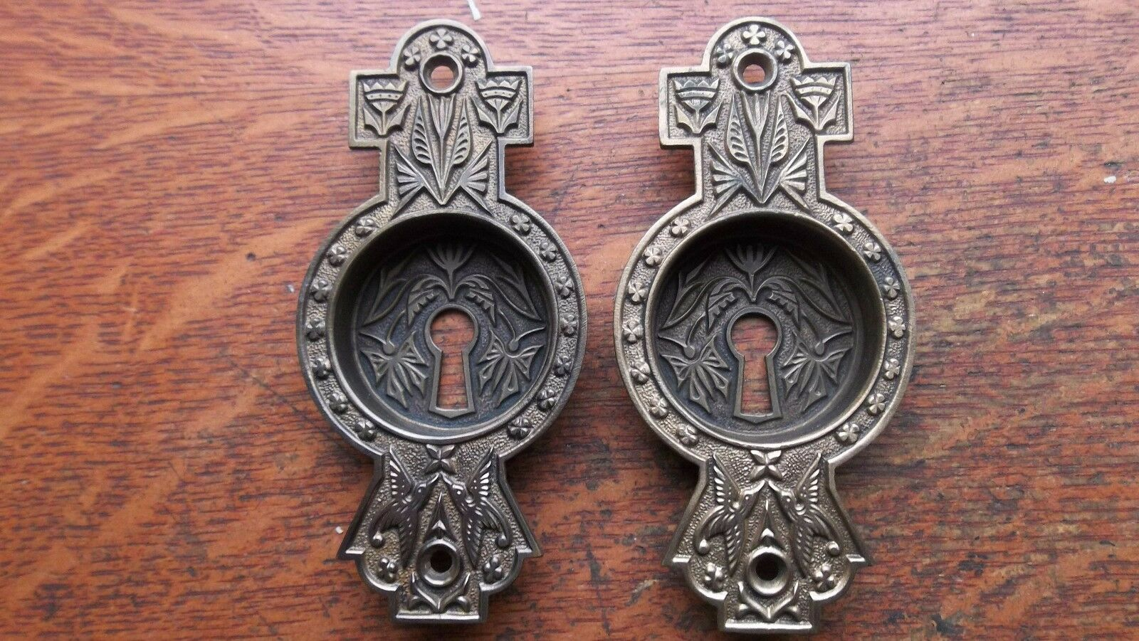Two Antique Victorian Bluebird & Butterfly Brass Pocket Door Pulls c1885 Norwalk