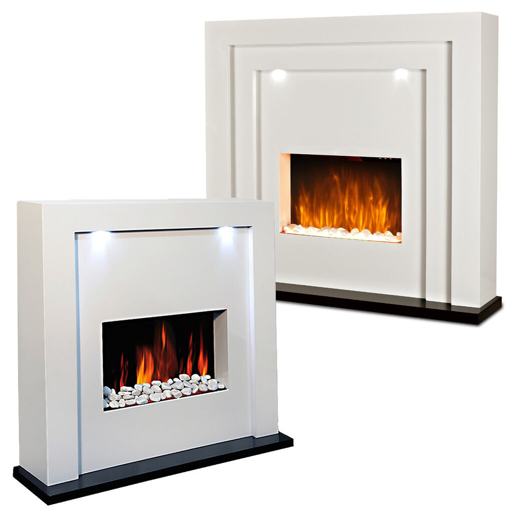 Free standing electric fire fireplace white mdf surround Free standing fireplace