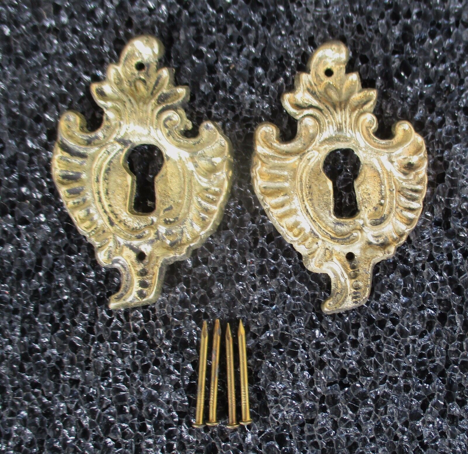 Pair Of Solid Brass French Style Escutcheons Keyhole Covers