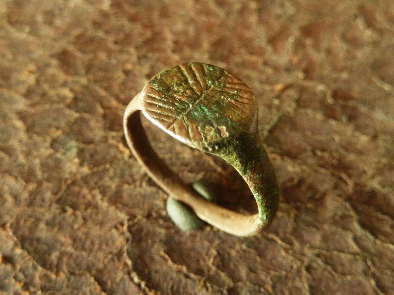 Ancient medieval bronze ring (255)
