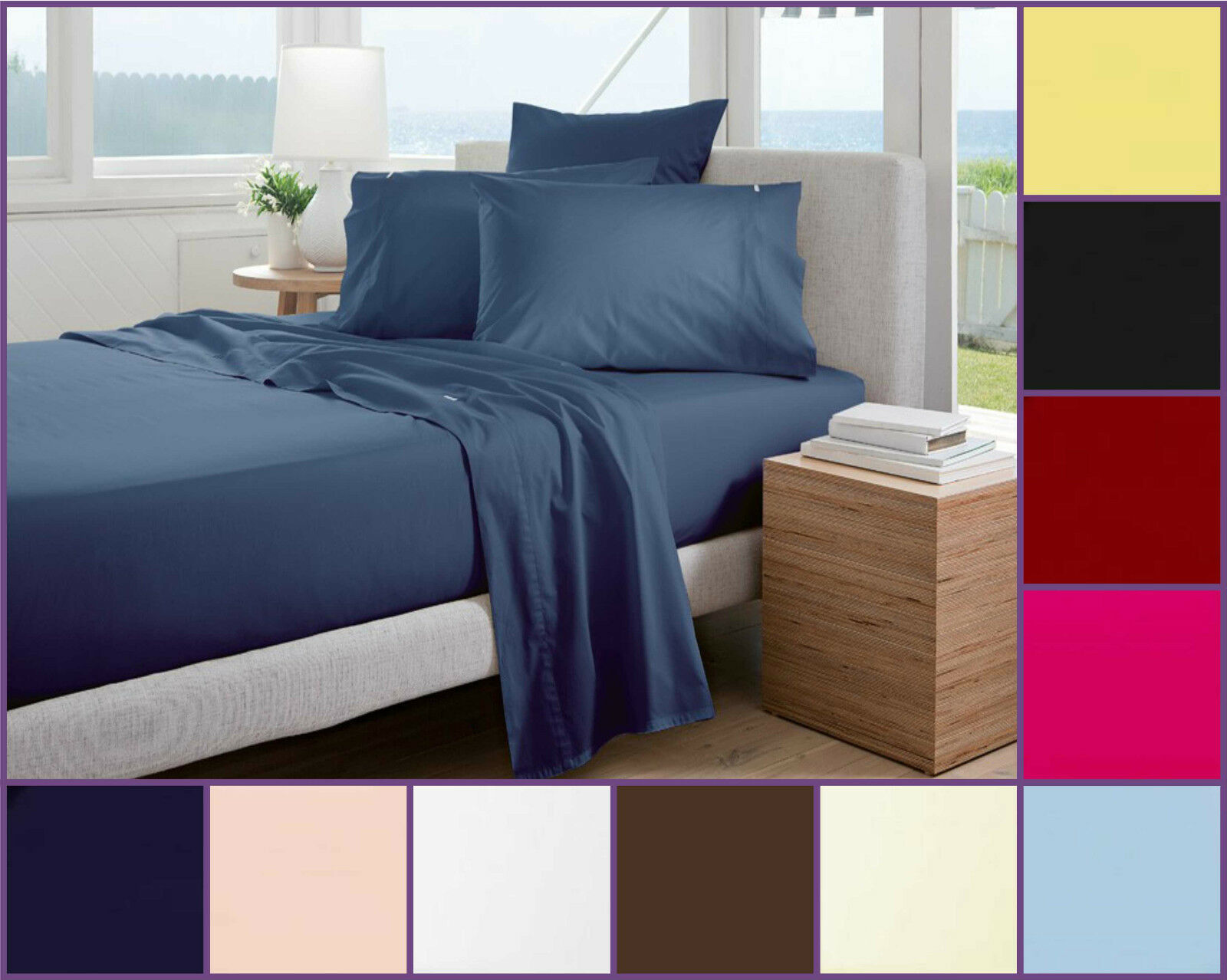 Plain Dye Bed Sheets Fitted Flat Sheet Polycotton Bedding Pillowcase Non  Iron 1 Of 1FREE Shipping See More