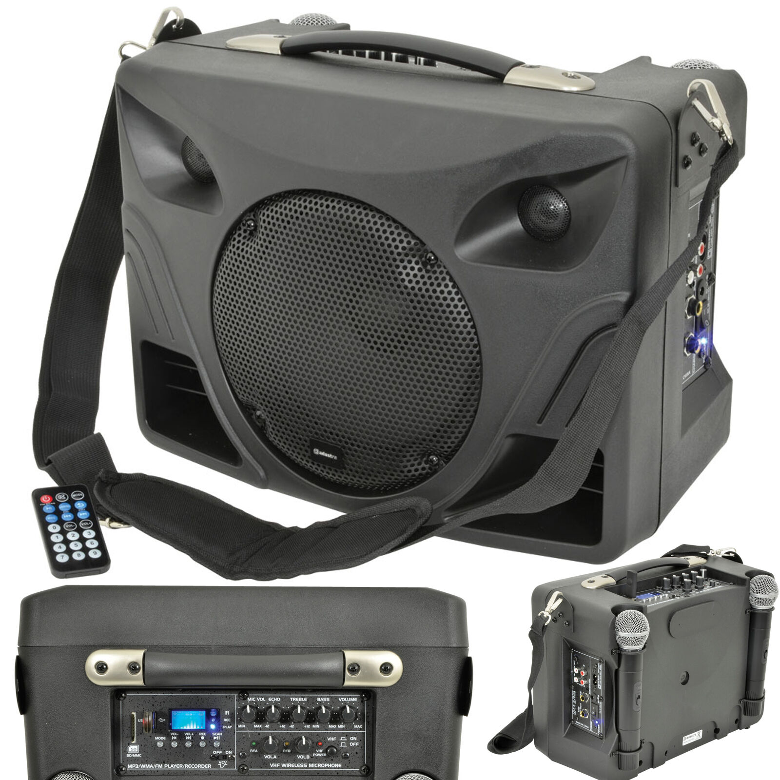 50w Portable Outdoor Pa Speaker System Mobile Wireless Microphone Mic Active Music 1 Of 2free Shipping