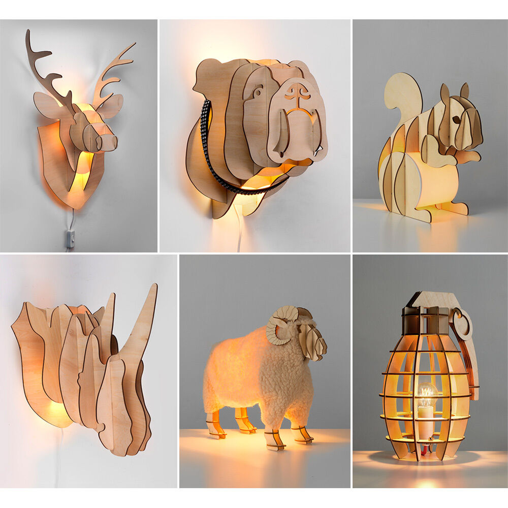 Quirky Wall Lamps : Quirky Novelty LED Wood Table Lamps & Wall Lights Stags Head Bulldog Squirrel ?9.99 - PicClick UK