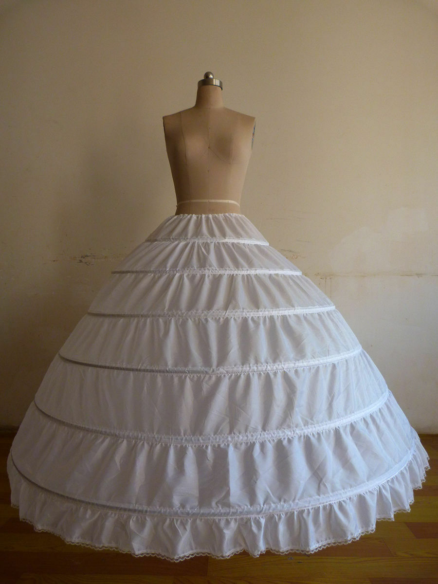 WHITE BLACK 6-HOOP Wedding Dress Ball Gown Crinoline Petticoat Skirt ...