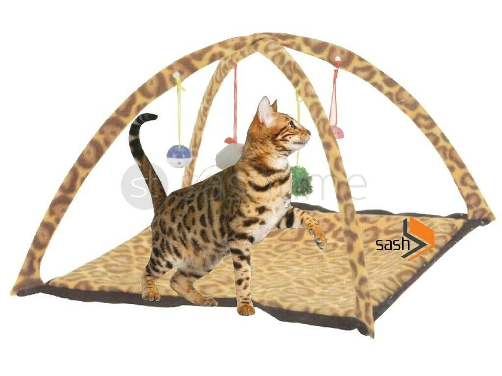 New Leopard Print Pet Cat Activity Playing Tent Toy Bed Pad Dog Mat House Bells