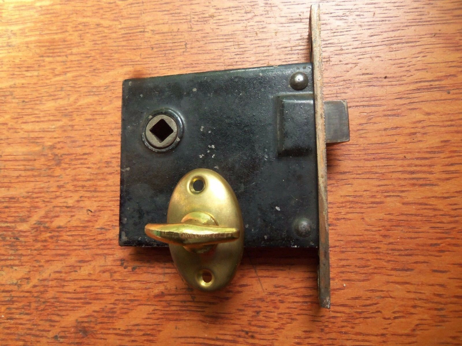 Antique Brass-Plated Mortise Lock with Privacy Key c1900 for Bathroom, Pantry