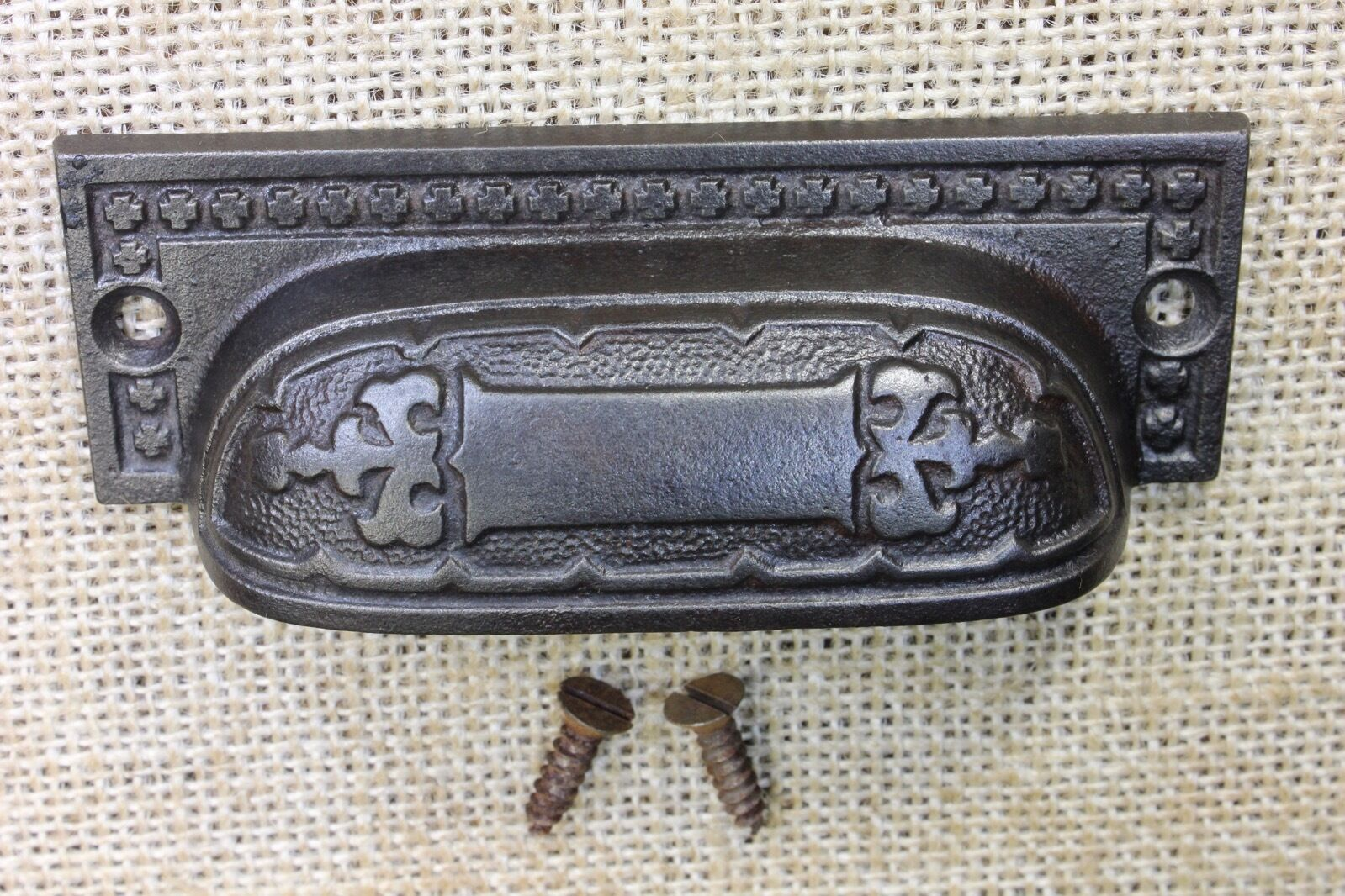 "old Bin Drawer Pull cup handle rustic cast iron 3 7/8"" restored finish vintage"