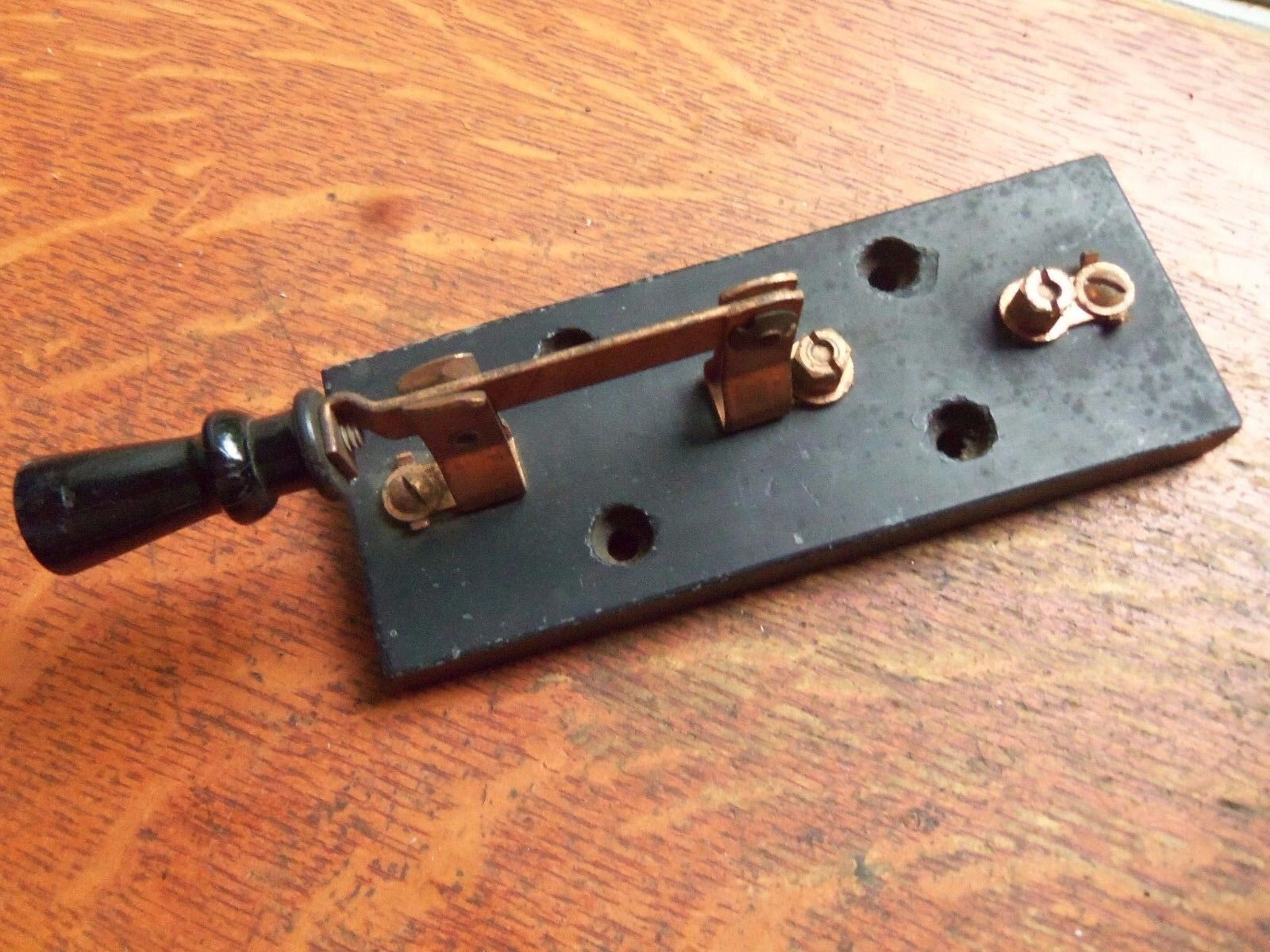 Antique Industrial Knife Switch Double Throw Steampunk Copper Blades Trumbull