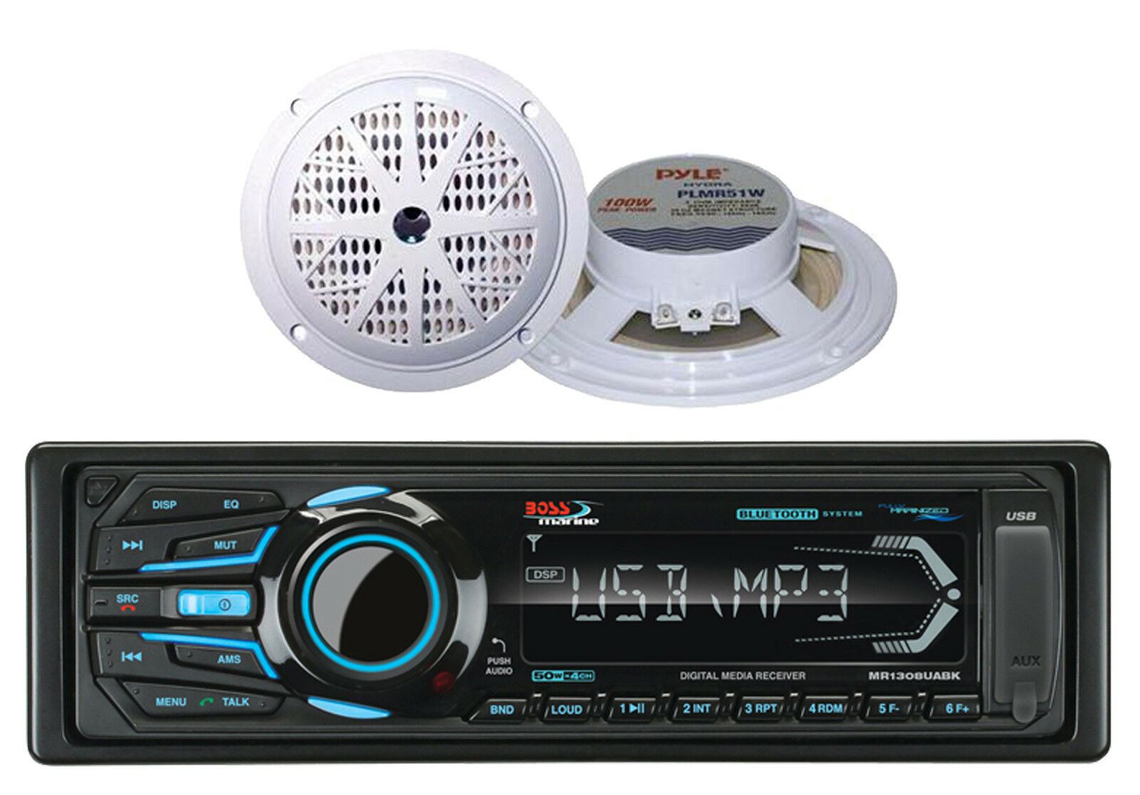 2 525 White Marine Speakers Boss Am Fm Usb Bluetooth Aux Mp3 Radio Wiring 1 Of 3free Shipping See More