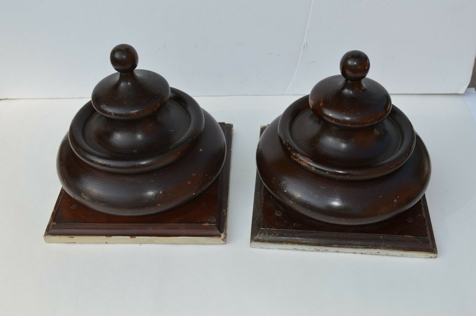 Beautiful Pair Of Architectural Newel Post Top Banister Finials Hand Turned