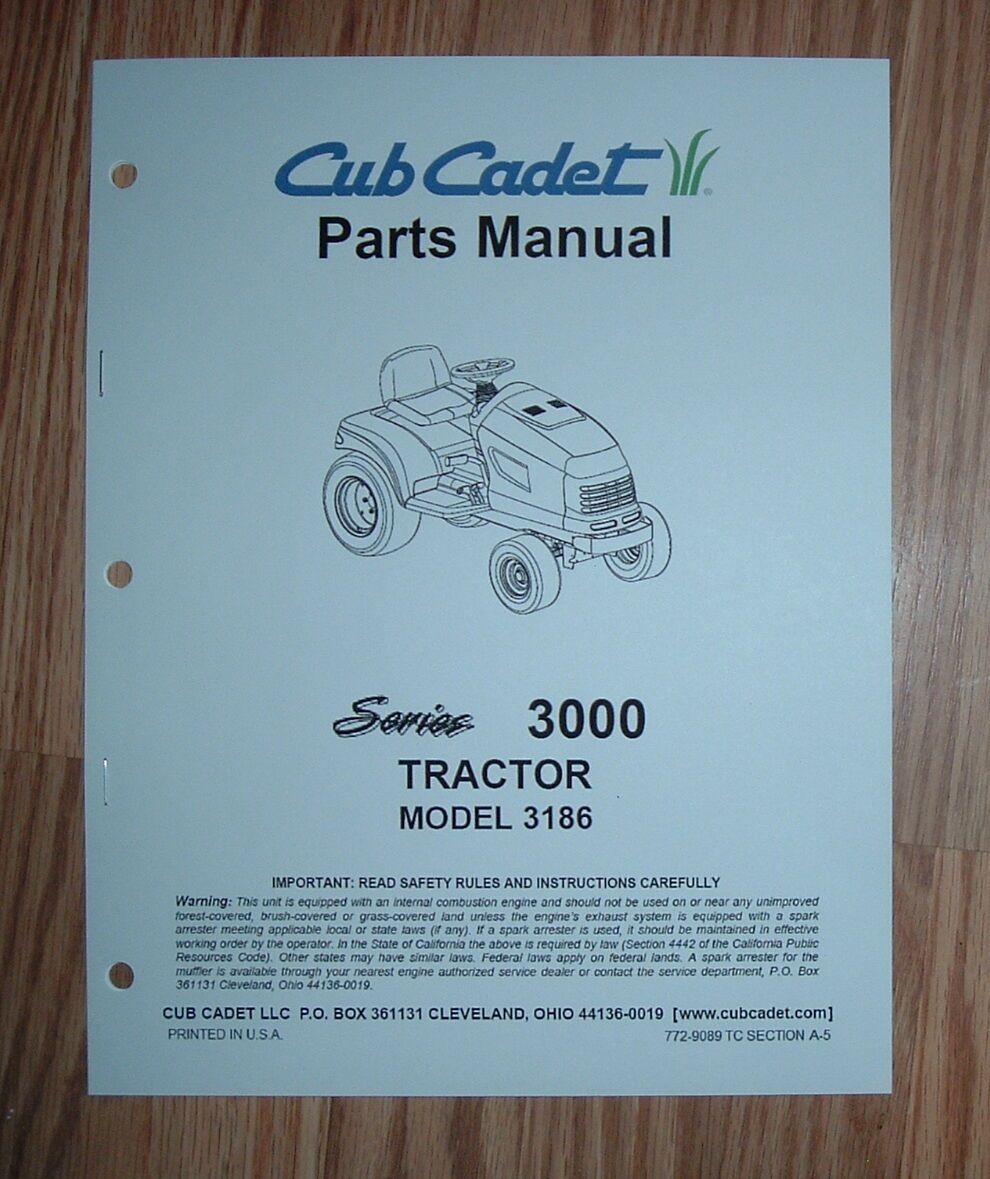 Cub Cadet 3186 Tractor & Engine Illustrated Parts List Manual 1 of 1Only 1  available ...