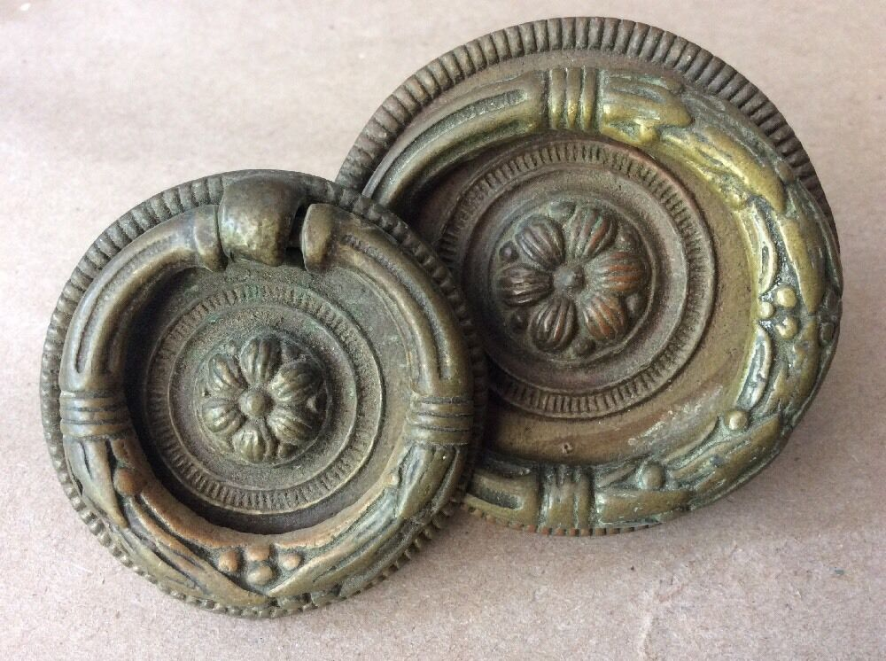 Pair Of Fancy Vintage  Cast Brass 1 3/4 & 2 1/4 Inch Round Pulls w Screws