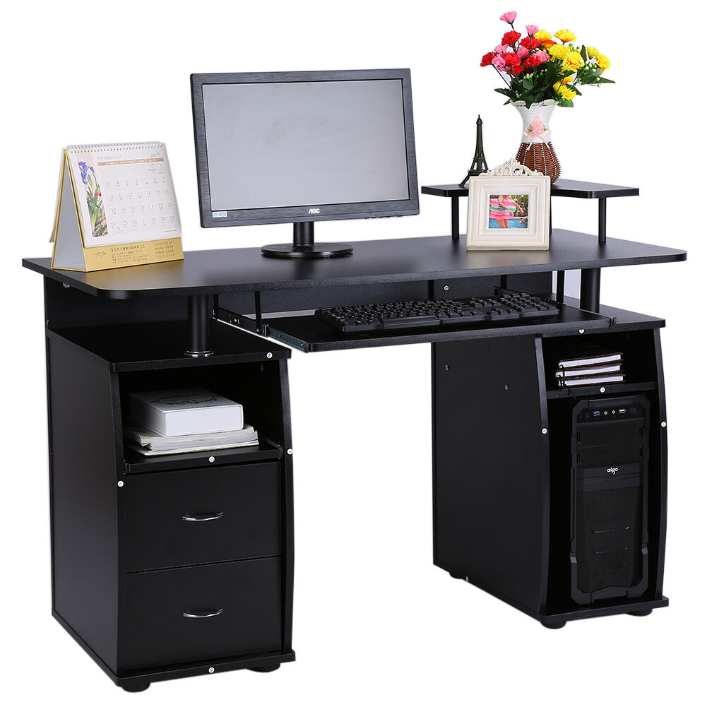black computer desk with shelves cupboard drawers for home office pc table picclick uk. Black Bedroom Furniture Sets. Home Design Ideas