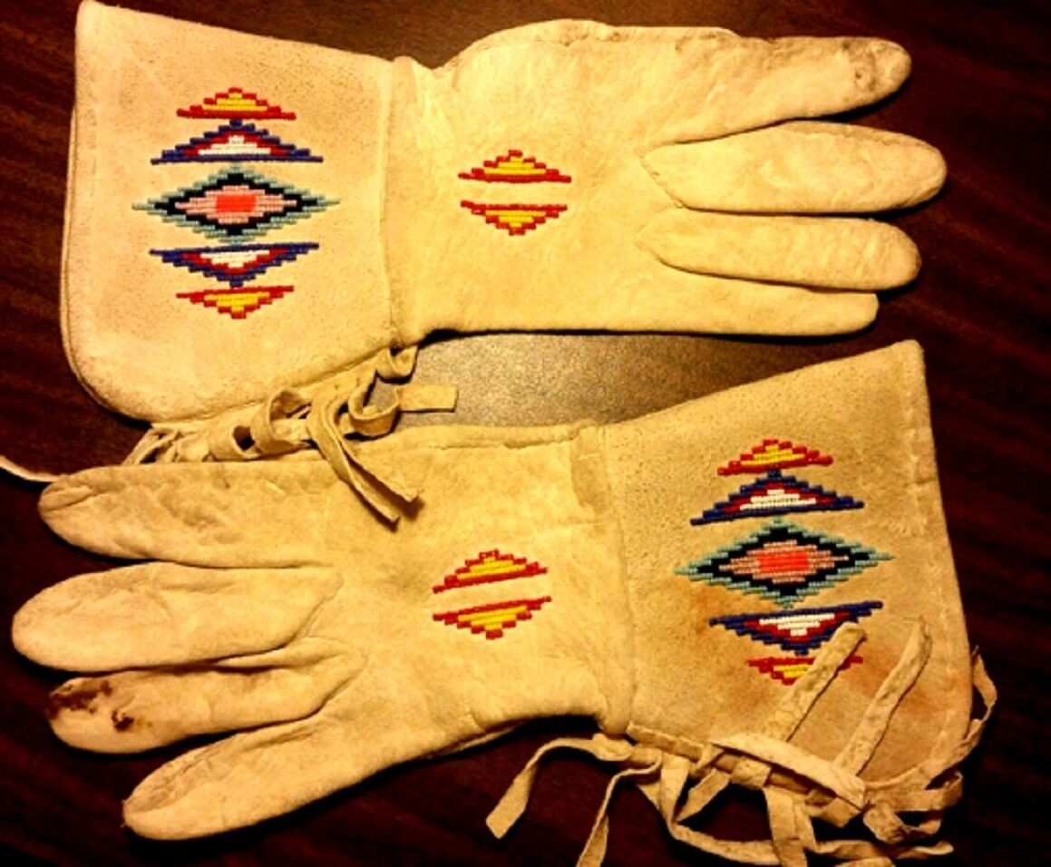 Vintage Antique 1800's Old West, Native American Beaded Leather Gauntlets Gloves