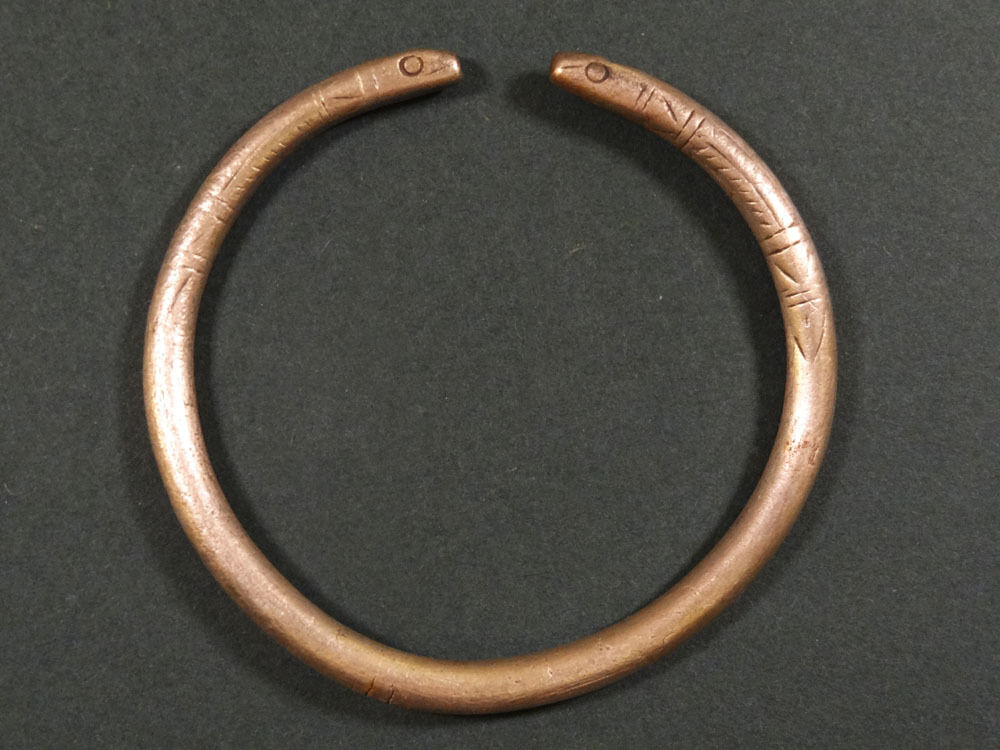 Ancient Solid Silver Snake Head Bracelet Egyptian 716-30 Bc
