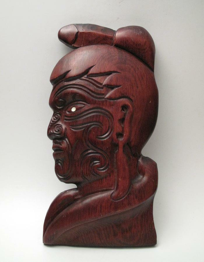 Vintage Hand Carved Wooden Maori Chief Warrior Wall Plaque
