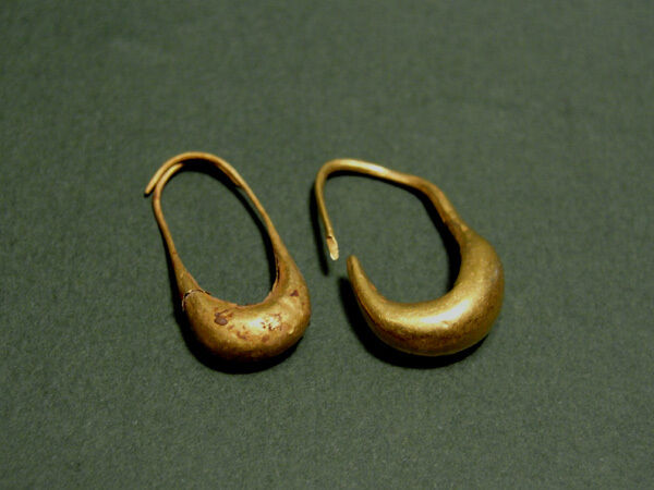 2 Ancient Gold Earrings Greek 600-300 Bc