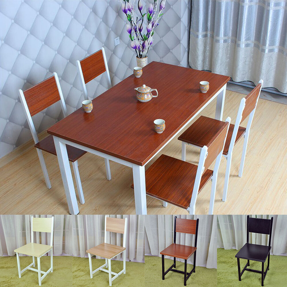 Modern wood dining table and 4 chairs set kitchen for Modern wood kitchen table