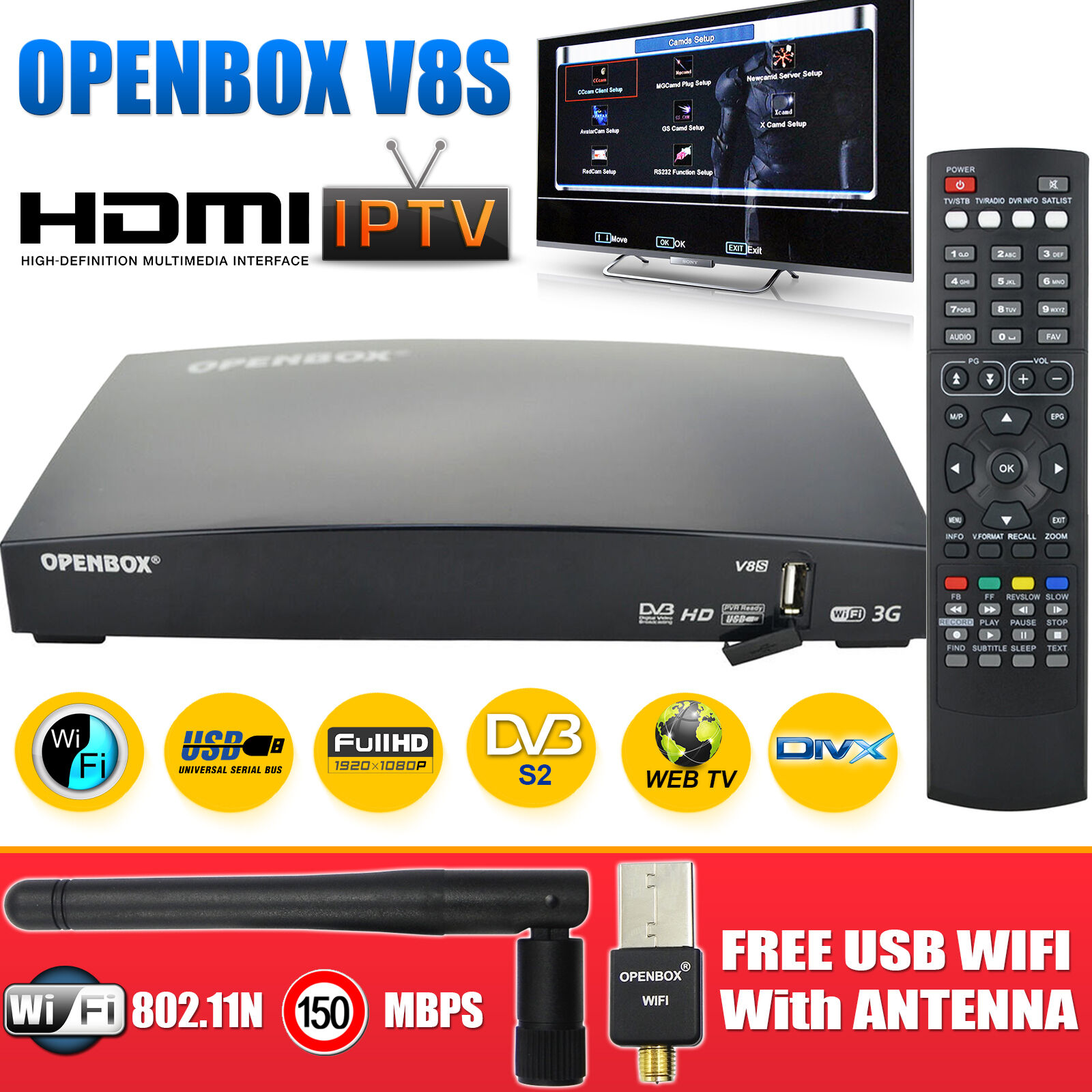 OPENBOX V8S 2016 Digital Satellite Receiver HD Freesat Box Recorder+ Wifi Dongle - £28.99 ...