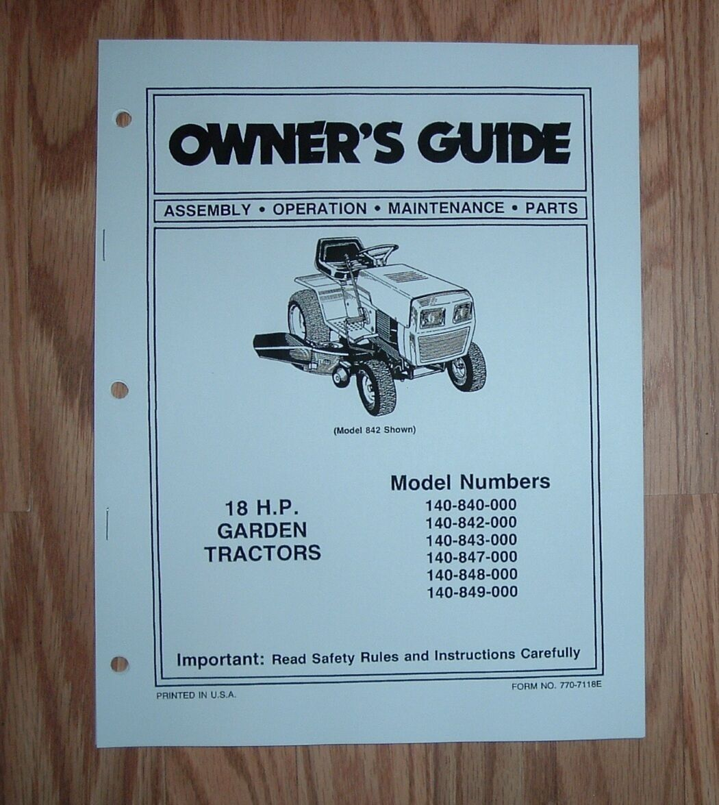 Mtd 140-842 Lawn & Garden Tractor Owner / Parts List Manual 1 of 1Only 1  available See More