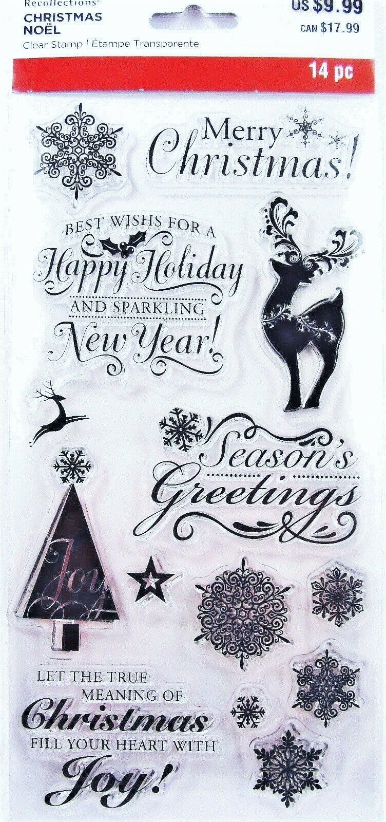 MERRY CHRISTMAS SAYINGS Clear Acrylic Stamp Set by Recollections ...