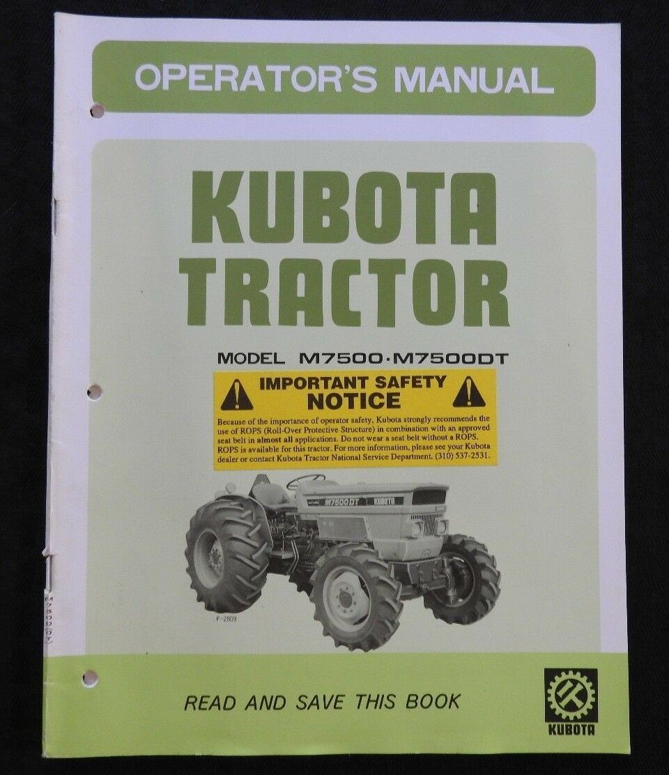 Genuine Kubota M7500 M7500Dt M 7500 7500 Dt Tractor Operators Manual Very  Nice 1 of 3Only 1 available ...