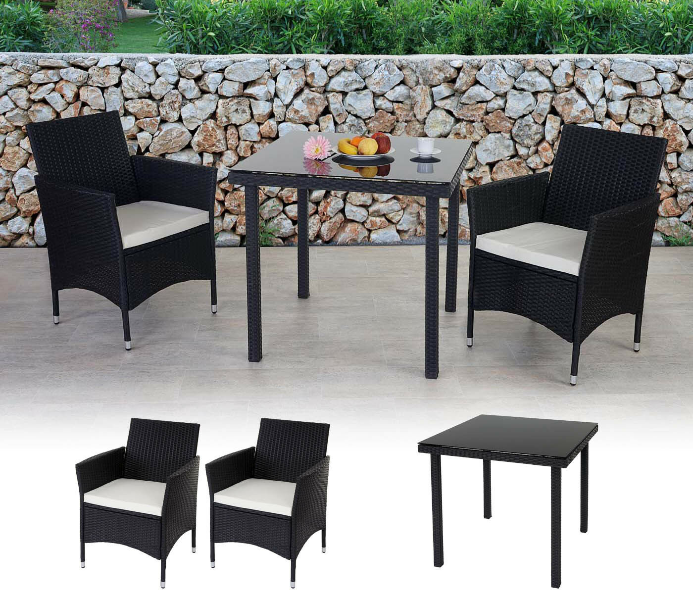 poly rattan garten garnitur modica 2x sessel sitzkissen tisch mit glasplatte eur 395 97. Black Bedroom Furniture Sets. Home Design Ideas