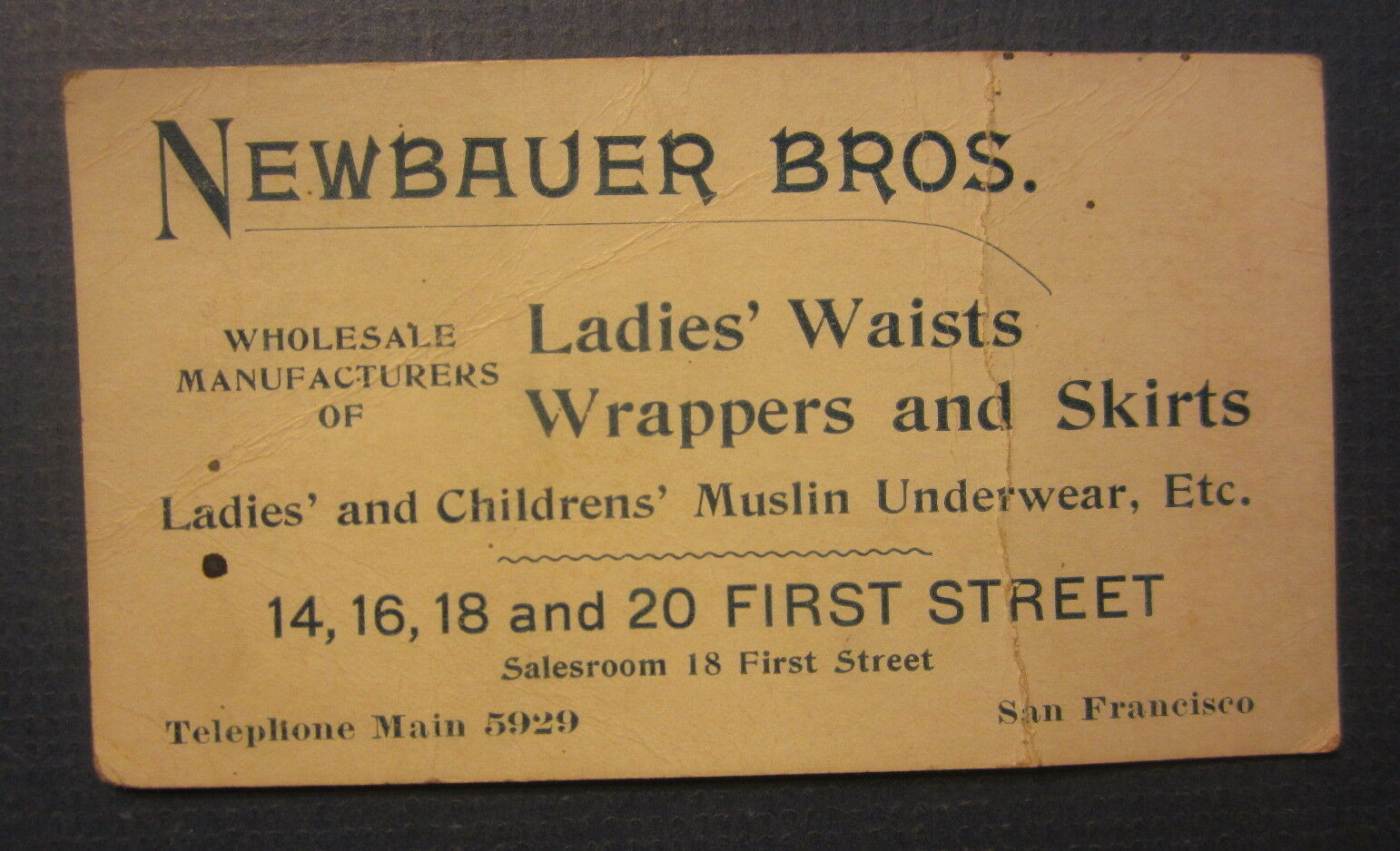 Old c1900 antique business card newbauer bros san francisco san francisco ca 1 of 1only 1 available reheart Choice Image