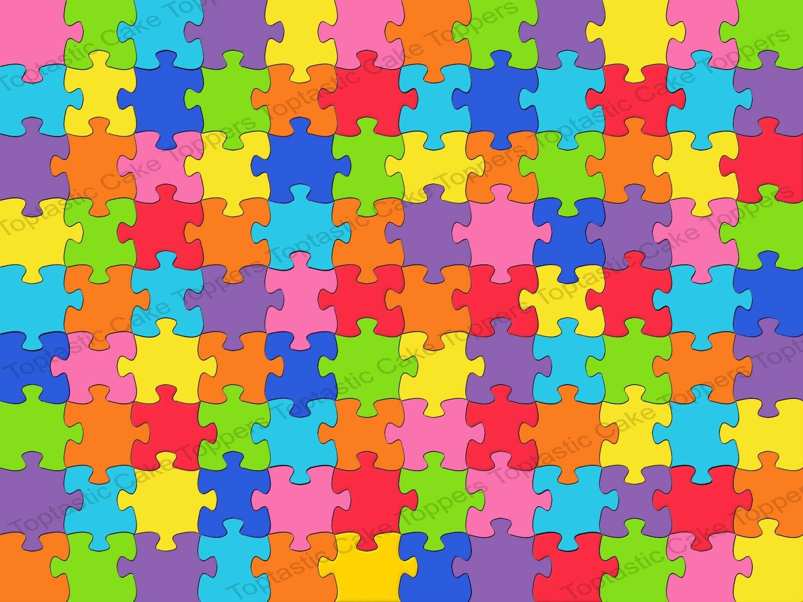 Jigsaw Puzzle Colourful Background Pattern Edible Icing