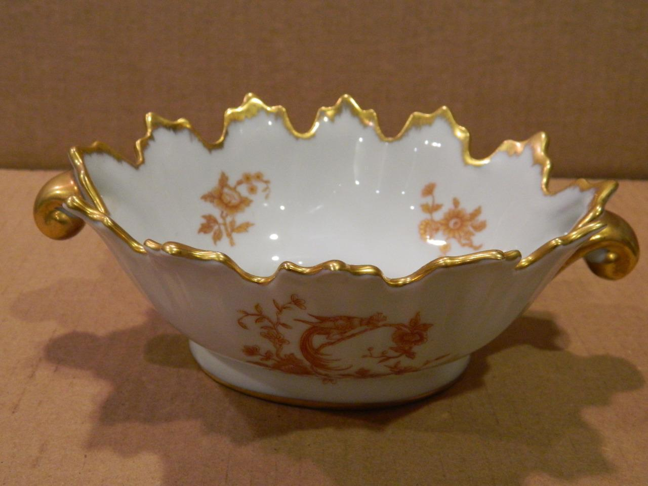 Limoges Hand Painted 2 Handled Bowl Gold / Red Trim Bird Vintage [a]