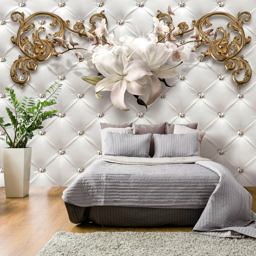 vlies fototapete tapeten xxl wandbilder tapete steppmuster blumen f c 0150 a a eur 6 99. Black Bedroom Furniture Sets. Home Design Ideas